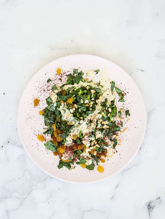 Bijoux Little Kitchen Jewels | Kale Salad with Golden Raisins, Pine Nuts, Tahini & Sumac