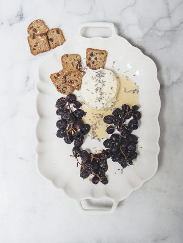 Roasted Grapes & Goat Cheese with Lavender Honey | Bijouxs Little Jewels