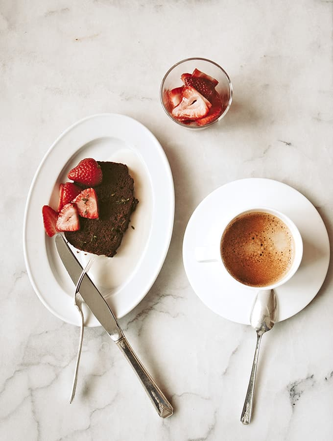 Spa Chocolate Banana Bread with Pickled Strawberries|Bijouxs Little Jewels