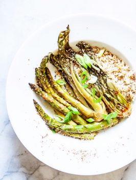 Oven Charred Miso Asparagus & Bok Choy