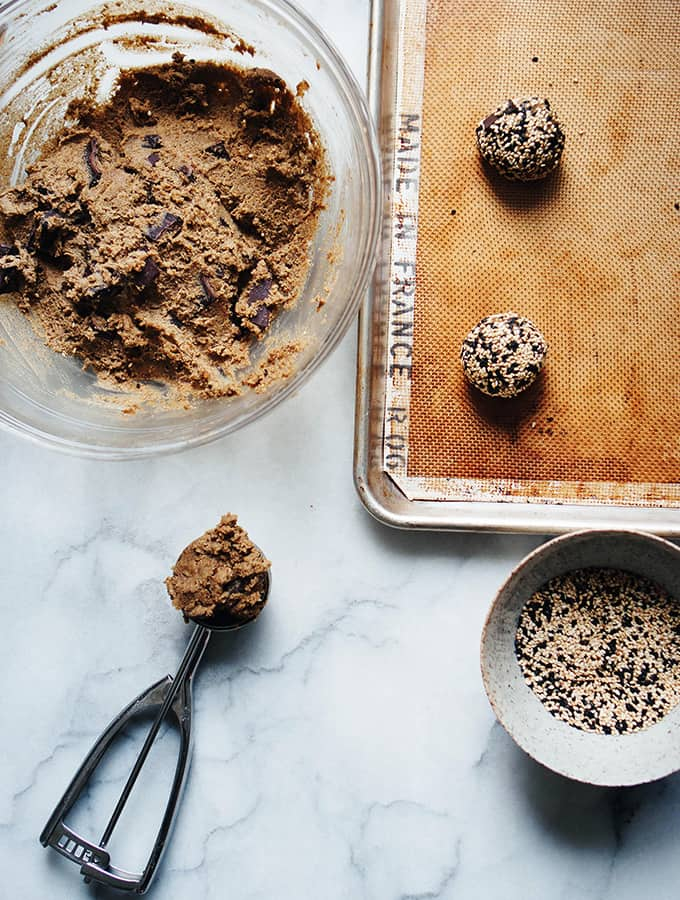 Tahini and Rye Chocolate Chip Cookies