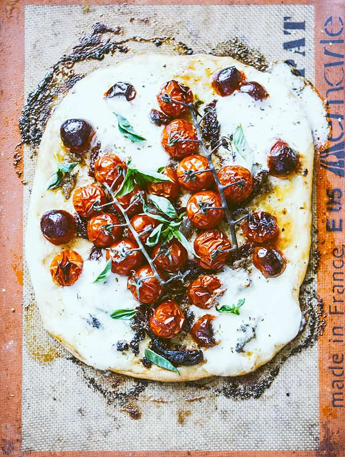 Pizza with Blistered Summer Tomatoes & Burrata